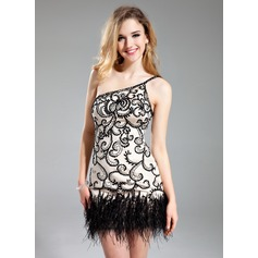 Sheath/Column One-Shoulder Short/Mini Charmeuse Cocktail Dress With Beading Feather Sequins