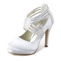 Women's Satin Cone Heel Closed Toe Platform Pumps With Rhinestone Zipper