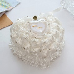 Heart Shaped Ring Pillow in Satin/Soap Flower With Ribbons/Flowers (103093275)
