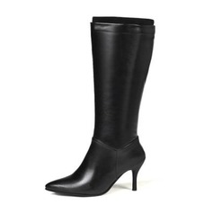 Women's Leatherette Stiletto Heel Pumps Boots Knee High Boots With Split Joint shoes