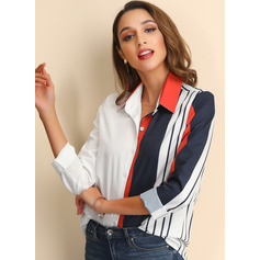 Long Sleeves Chiffon Lapel Shirt Blouses Blouses (1003223559)