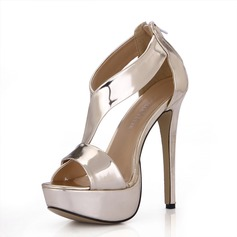 Patent Leather Stiletto Heel Sandals Platform Peep Toe With Zipper shoes