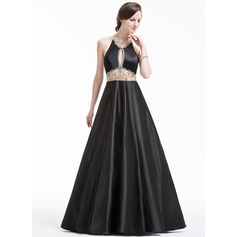 Ball-Gown Scoop Neck Floor-Length Satin Prom Dresses With Beading Sequins (018079092)