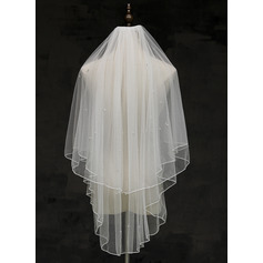 Two-tier Pencil Edge Fingertip Bridal Veils With Faux Pearl