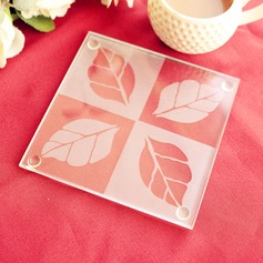 Frosted Leaf Design Glass Coaster Set