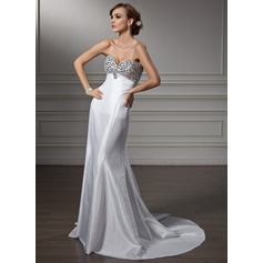 Empire Sweetheart Sweep Train Taffeta Prom Dress With Beading