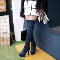 Women's Suede Chunky Heel Pumps Platform Boots Over The Knee Boots shoes