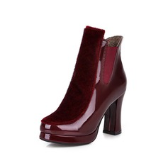 Women's Suede Patent Leather Chunky Heel Ankle Boots shoes