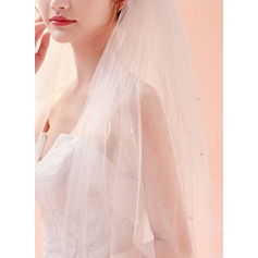 Four-tier Lace Applique Edge Chapel Bridal Veils With Lace