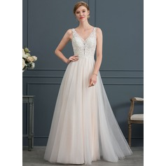 A-Line V-neck Floor-Length Tulle Wedding Dress With Beading