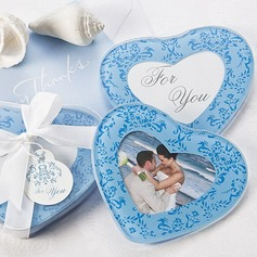 Heart Shaped Glass Coaster With Ribbons