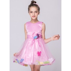 A-Line/Princess Knee-length Flower Girl Dress - Tulle/Polyester Sleeveless Scoop Neck With Flower(s)/Bow(s)