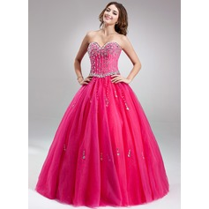 Ball-Gown Sweetheart Floor-Length Tulle Prom Dresses With Beading
