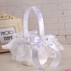 Beautiful Flower Basket in Cloth With Ribbons/Lace/Flower
