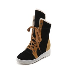 Women's Suede Wedge Heel Closed Toe Wedges Boots Mid-Calf Boots With Lace-up shoes
