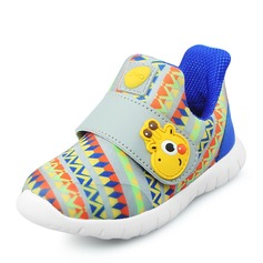 Unisex Closed Toe Leatherette Flat Heel Sneakers & Athletic With Velcro Animal Print