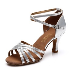 Women's Satin Leatherette Heels Sandals Latin Dance Shoes