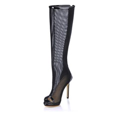 Women's Patent Leather Stiletto Heel Peep Toe Knee High Boots With Hollow-out shoes