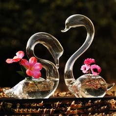 Elegant Swan Glass Vases (Set of 2, Flowers Not Include)