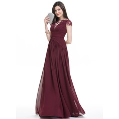 A-Line/Princess Scoop Neck Floor-Length Chiffon Evening Dress With Ruffle Lace (017105885)