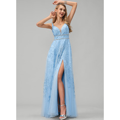 A-Line V-neck Floor-Length Tulle Prom Dresses With Lace Beading Sequins