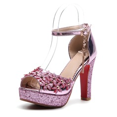 Women's PVC Chunky Heel Sandals Pumps Platform Peep Toe With Chain Flower shoes