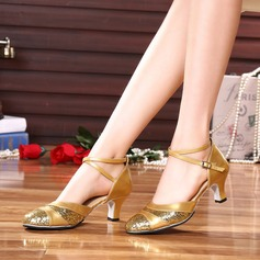 Women's Leatherette Heels Ballroom With Buckle Sequin Dance Shoes