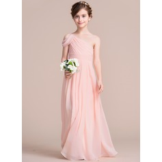 A-Line/Princess One-Shoulder Floor-Length Chiffon Junior Bridesmaid Dress With Ruffle (009095090)