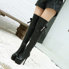 Kvinnor PU Stilettklack Pumps Plattform Over The Knee Boots med Spänne Zipper skor