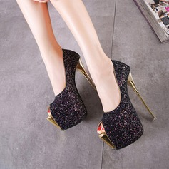 Women's Sparkling Glitter Stiletto Heel Platform Peep Toe shoes
