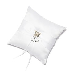 Butterfly Design Ring Pillow in Satin With Sash/Rhinestones