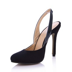 Suede Cone Heel Pumps Closed Toe Slingbacks schoenen