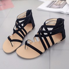 Women's Suede Flat Heel Sandals Flats Peep Toe With Zipper shoes