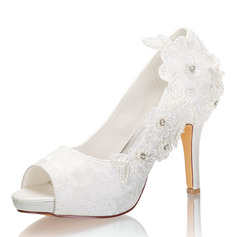 Women's Lace Silk Like Satin Stiletto Heel Peep Toe Platform Pumps With Stitching Lace Flower Crystal