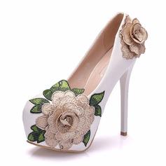 Kids' Leatherette Stiletto Heel Closed Toe Platform Pumps With Sequin Flower Applique
