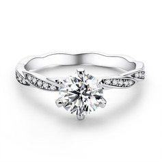 Intertwined Round Cut 925 Silver Engagement Rings