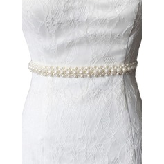 Classic Satin Sash With Imitation Pearls