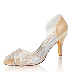 Women's Silk Like Satin Stiletto Heel Peep Toe Sandals With Rhinestone