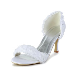 Women's Lace Satin Spool Heel Sandals With Imitation Pearl