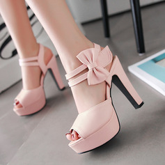 Women's PU Chunky Heel Sandals Pumps Platform Peep Toe Slingbacks With Bowknot shoes (087127461)