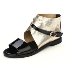 Leatherette Flat Heel Sandals Flats With Buckle shoes