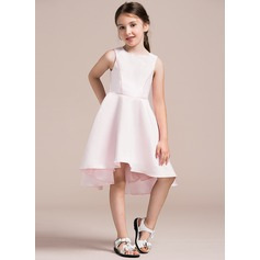 A-Line/Princess Scoop Neck Asymmetrical Satin Junior Bridesmaid Dress
