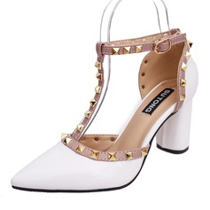 Women's Patent Leather Chunky Heel Pumps Closed Toe With Rivet shoes