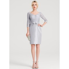 Sheath/Column V-neck Knee-Length Taffeta Cocktail Dress With Bow(s)