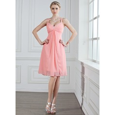 A-Line/Princess Sweetheart Knee-Length Chiffon Bridesmaid Dress With Ruffle Beading