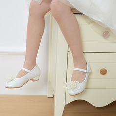 Girl's Round Toe Closed Toe Leatherette Low Heel Flats Flower Girl Shoes With Buckle Imitation Pearl Satin Flower