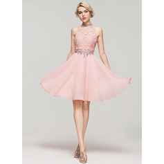 A-Linie/Princess-Linie High Neck Knielang Chiffon Cocktailkleid mit Perlstickerei Pailletten (016091229)