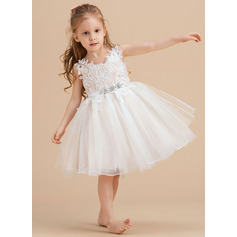 A-Line Knee-length Flower Girl Dress - Tulle/Lace Sleeveless V-neck/Straps (010235324)