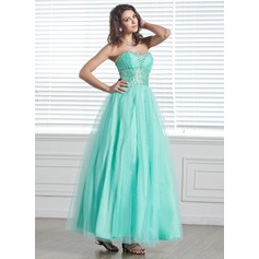 A-Line/Princess Sweetheart Ankle-Length Tulle Holiday Dress With Beading (020026034)