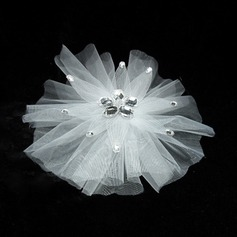 Simple Tulle Flowers & Feathers With Rhinestone